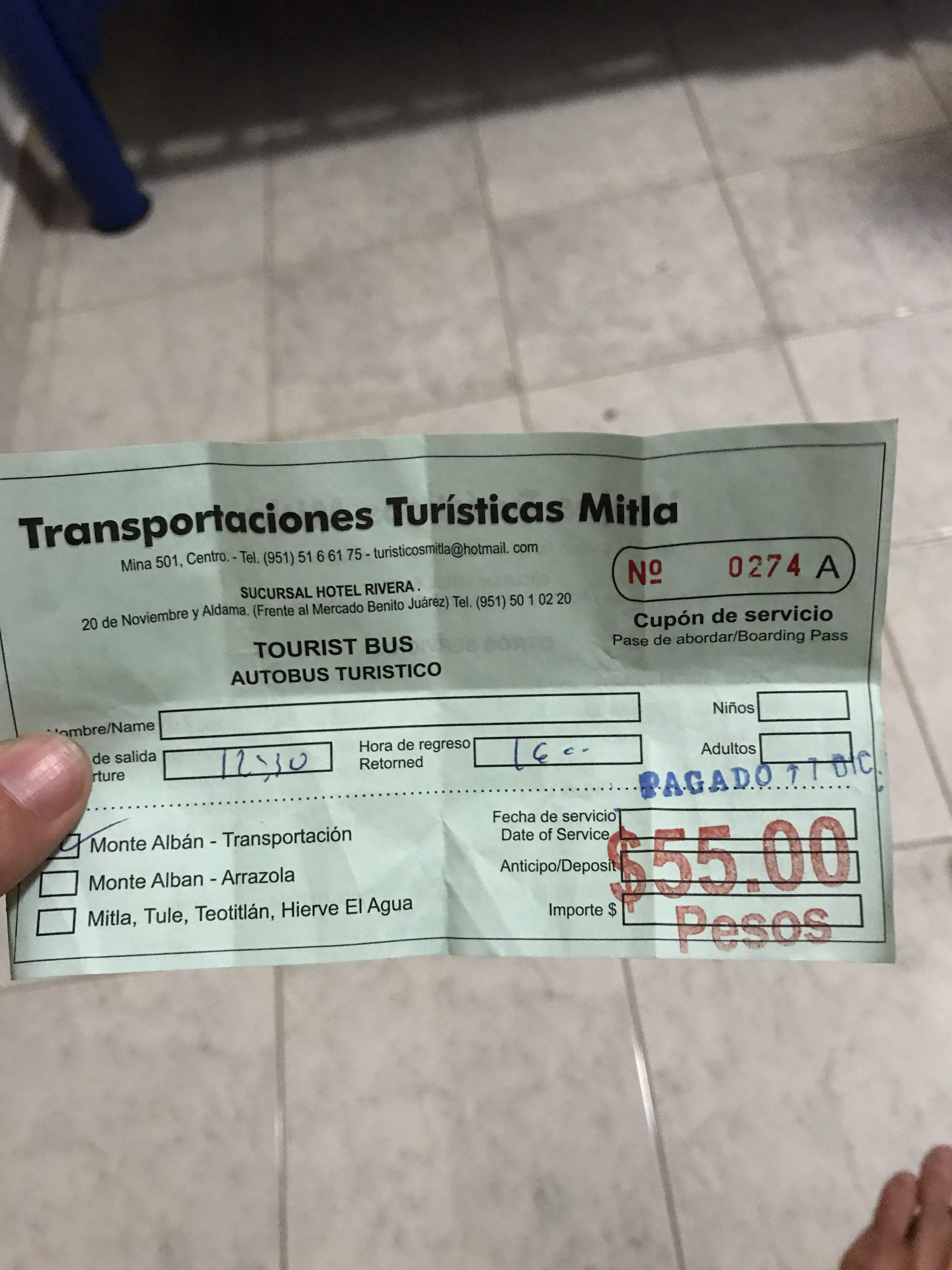 オアハカからモンテアルバン行きのバスチケット