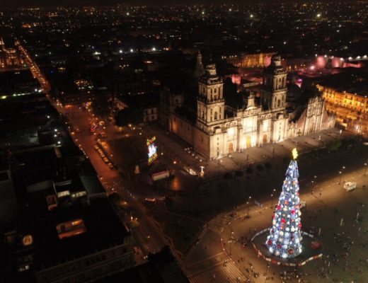 メキシコシティの夜景ドローン画像