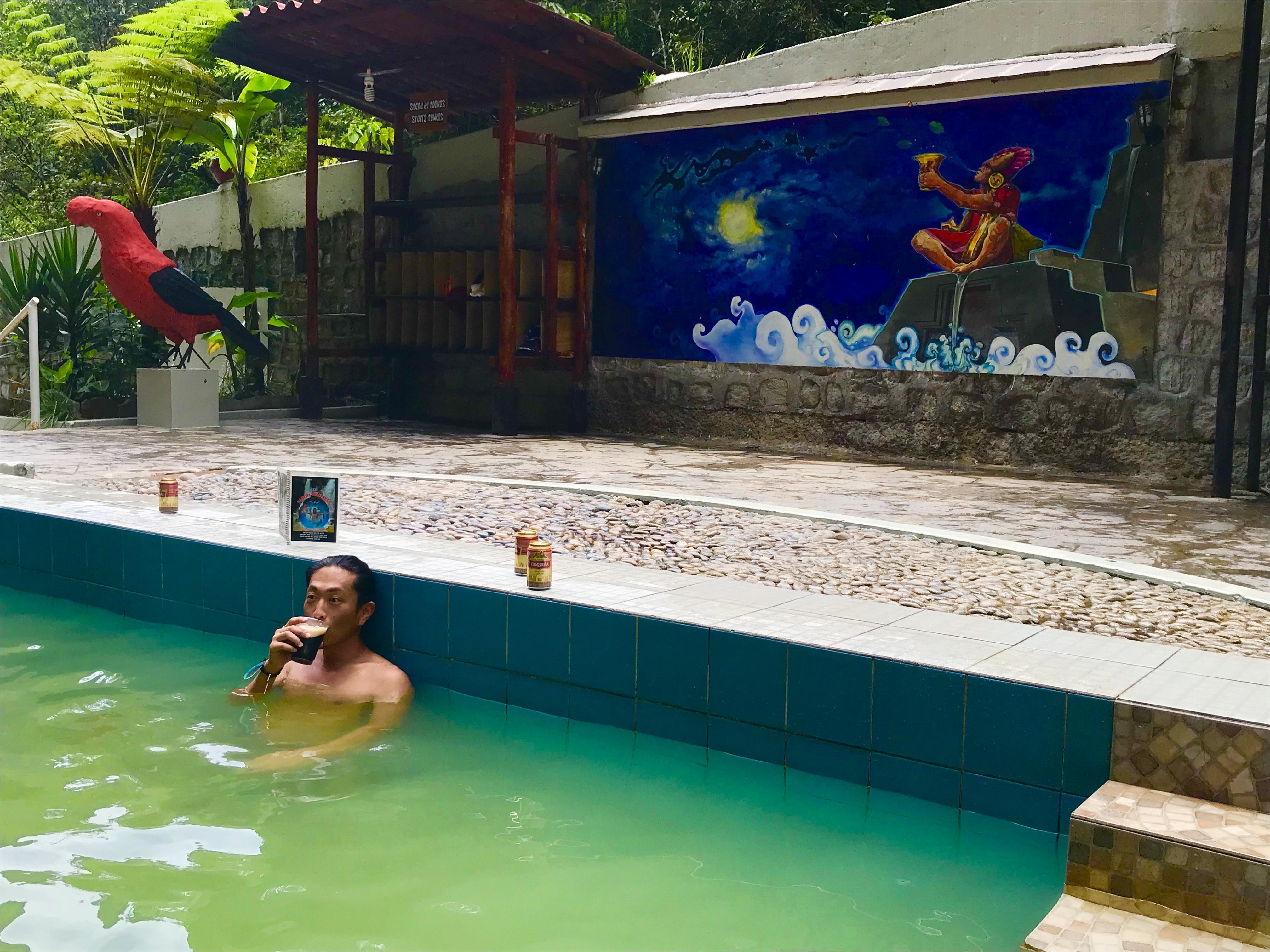 マチュピチュ村の温泉に入るチパコプター