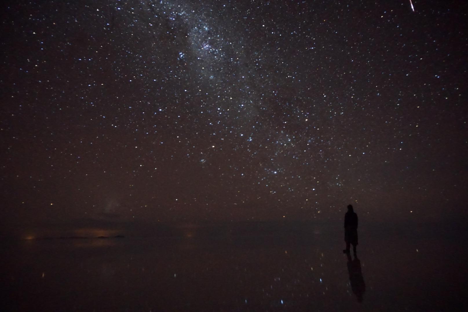 鏡張りのウユニ塩湖の星空